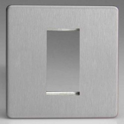 Varilight Screwless Brushed Steel 1 Gang Single Aperture DataGrid Faceplate
