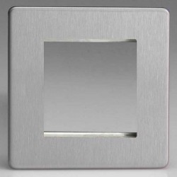 Varilight Screwless Brushed Steel 1 Gang Twin Aperture DataGrid Faceplate