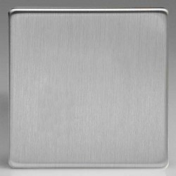 Varilight Screwless Brushed Steel 1 Gang Blank Plate