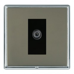 Hamilton Linea-Rondo CFX Bright Chrome/Black Nickel 1 Gang Digital Satellite with Black Insert