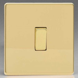 Varilight Screwless Polished Brass 1 Gang 10A 2 Way Switch