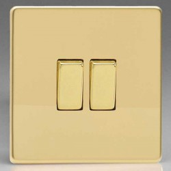 Varilight Screwless Polished Brass 2 Gang 10A 2 Way Switch