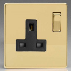 Varilight Screwless Polished Brass 1 Gang 13A DP Switched Socket with Black Insert