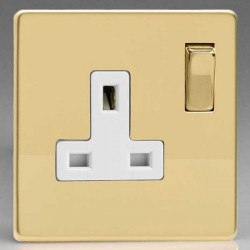 Varilight Screwless Polished Brass 1 Gang 13A DP Switched Socket with White Insert