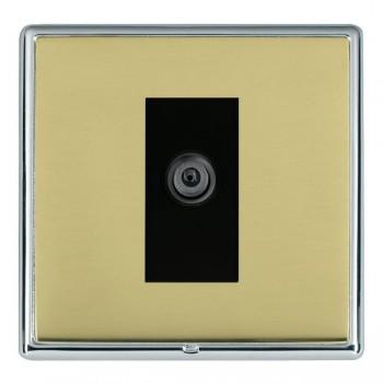 Hamilton Linea-Rondo CFX Bright Chrome/Polished Brass 1 Gang Digital Satellite with Black Insert