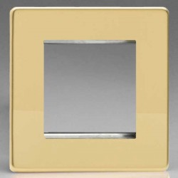 Varilight Screwless Polished Brass 1 Gang Twin Aperture DataGrid Faceplate