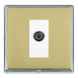 Hamilton Linea-Rondo CFX Bright Chrome/Polished Brass 1 Gang Digital Satellite with White Insert