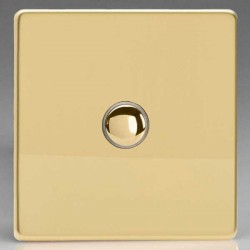 Varilight Screwless Polished Brass 1 Gang 6A 2 Way Push-On/Off Impulse Switch