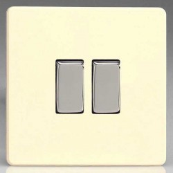 Varilight Screwless White Chocolate 2 Gang 10A 2 Way Switch