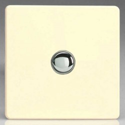 Varilight Screwless White Chocolate 1 Gang 6A 2 Way Push-On/Off Impulse Switch