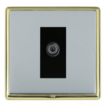 Hamilton Linea-Rondo CFX Polished Brass/Bright Steel 1 Gang Digital Satellite with Black Insert