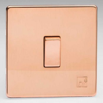 Varilight Screwless Antimicrobial Copper 1 Gang 10A 2 Way Switch