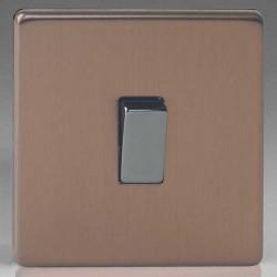 Varilight Screwless Brushed Bronze 1 Gang 10A 2 Way Switch