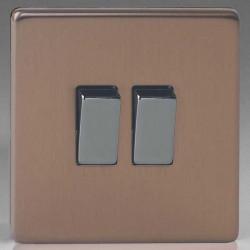 Varilight Screwless Brushed Bronze 2 Gang 10A 2 Way Switch