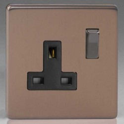 Varilight Screwless Brushed Bronze 1 Gang 13A DP Switched Socket with Black Insert