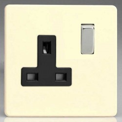 Varilight Screwless Primed 1 Gang 13A DP Switched Socket with Black Insert