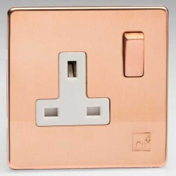 Varilight Screwless Antimicrobial Copper 1 Gang 13A DP Switched Socket with White Insert