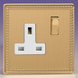 Varilight Jubilee Brushed Brass 1 Gang 13A DP Switched Socket with White Insert