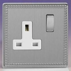 Varilight Jubilee Brushed Steel 1 Gang 13A DP Switched Socket with White Insert