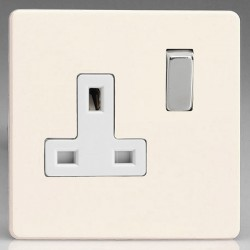 Varilight Screwless Primed 1 Gang 13A DP Switched Socket with White Insert