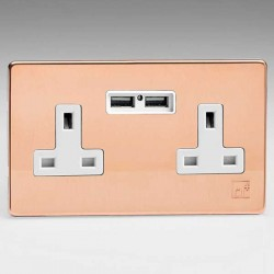 Varilight Screwless Antimicrobial Copper 2 Gang 13A Unswitched Socket with Dual USB Ports and White Inser...