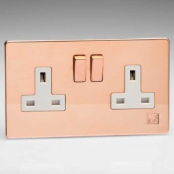 Varilight Screwless Antimicrobial Copper 2 Gang 13A DP Switched Socket with White Insert