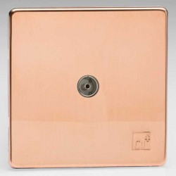 Varilight Screwless Antimicrobial Copper 1 Gang Co-Axial TV Socket