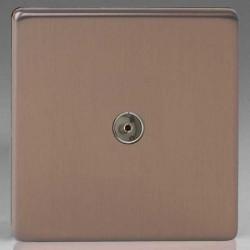 Varilight Screwless Brushed Bronze 1 Gang Co-Axial TV Socket