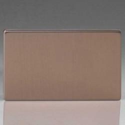 Varilight Screwless Brushed Bronze 2 Gang Blank Plate