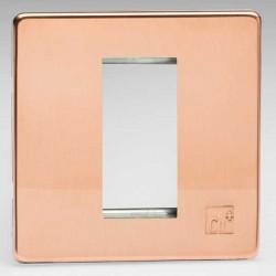 Varilight Screwless Antimicrobial Copper 1 Gang Single Aperture DataGrid Faceplate