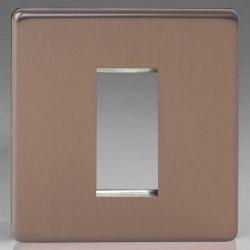 Varilight Screwless Brushed Bronze 1 Gang Single Aperture DataGrid Faceplate