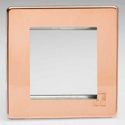 Varilight Screwless Antimicrobial Copper 1 Gang Twin Aperture DataGrid Faceplate