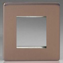 Varilight Screwless Brushed Bronze 1 Gang Twin Aperture DataGrid Faceplate