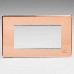 Varilight Screwless Antimicrobial Copper 2 Gang Quad Aperture DataGrid Faceplate