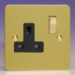 Varilight Ultraflat Brushed Brass 1 Gang 13A DP Switched Socket with Black Insert