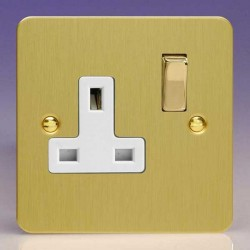 Varilight Ultraflat Brushed Brass 1 Gang 13A DP Switched Socket with White Insert