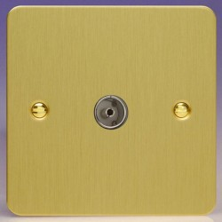 Varilight Ultraflat Brushed Brass 1 Gang Co-Axial TV Socket