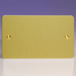 Varilight Ultraflat Brushed Brass 2 Gang Blank Plate