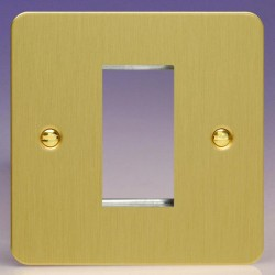 Varilight Ultraflat Brushed Brass 1 Gang Single Aperture DataGrid Faceplate
