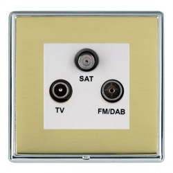 Hamilton Linea-Rondo CFX Bright Chrome/Polished Brass TV+FM+SAT (DAB Compatible) with White Insert