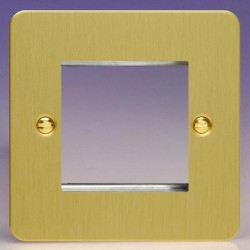 Varilight Ultraflat Brushed Brass 1 Gang Twin Aperture DataGrid Faceplate