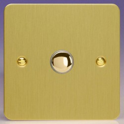 Varilight Ultraflat Brushed Brass 1 Gang 6A 2 Way Push-On/Off Impulse Switch
