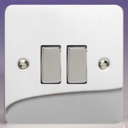 Varilight Ultraflat Polished Chrome 2 Gang 10A 2 Way Switch