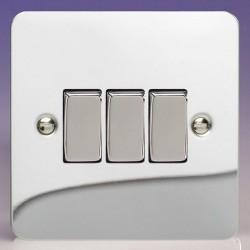 Varilight Ultraflat Polished Chrome 3 Gang 10A 2 Way Switch
