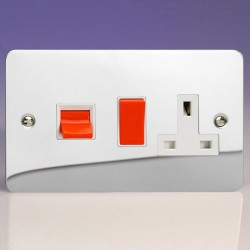 Varilight Ultraflat Polished Chrome 45A Cooker Switch with 13A DP Switched Socket and White Insert