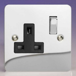 Varilight Ultraflat Polished Chrome 1 Gang 13A DP Switched Socket with Black Insert