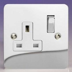 Varilight Ultraflat Polished Chrome 1 Gang 13A DP Switched Socket with White Insert