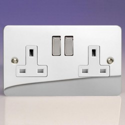 Varilight Ultraflat Polished Chrome 2 Gang 13A DP Switched Socket with White Insert