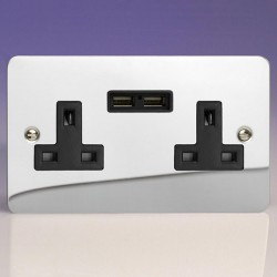 Varilight Ultraflat Polished Chrome 2 Gang 13A Unswitched Socket with Dual USB Ports and Black Insert
