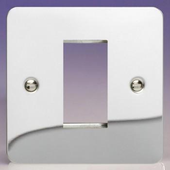 Varilight Ultraflat Polished Chrome 1 Gang Single Aperture DataGrid Faceplate